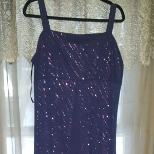 Purple glitter floor length dress EUC